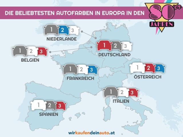 Europakarte mit beliebtesten Autofarben der 80er Jahre