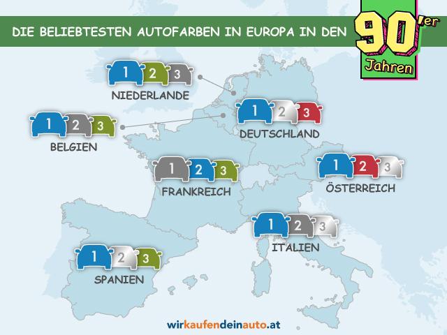 Europakarte mit beliebtesten Autofarben der 90er Jahre