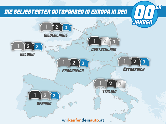 Europakarte mit beliebtesten Autofarben von 2000-2009