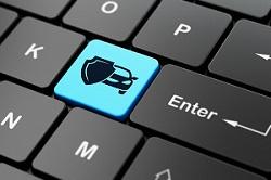Tastatur mit Versicherungssymbol