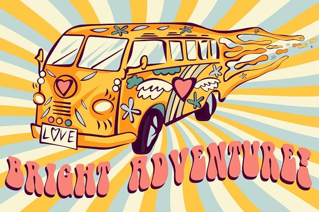 Eine Hippie Illustration mit einem bunten Bulli